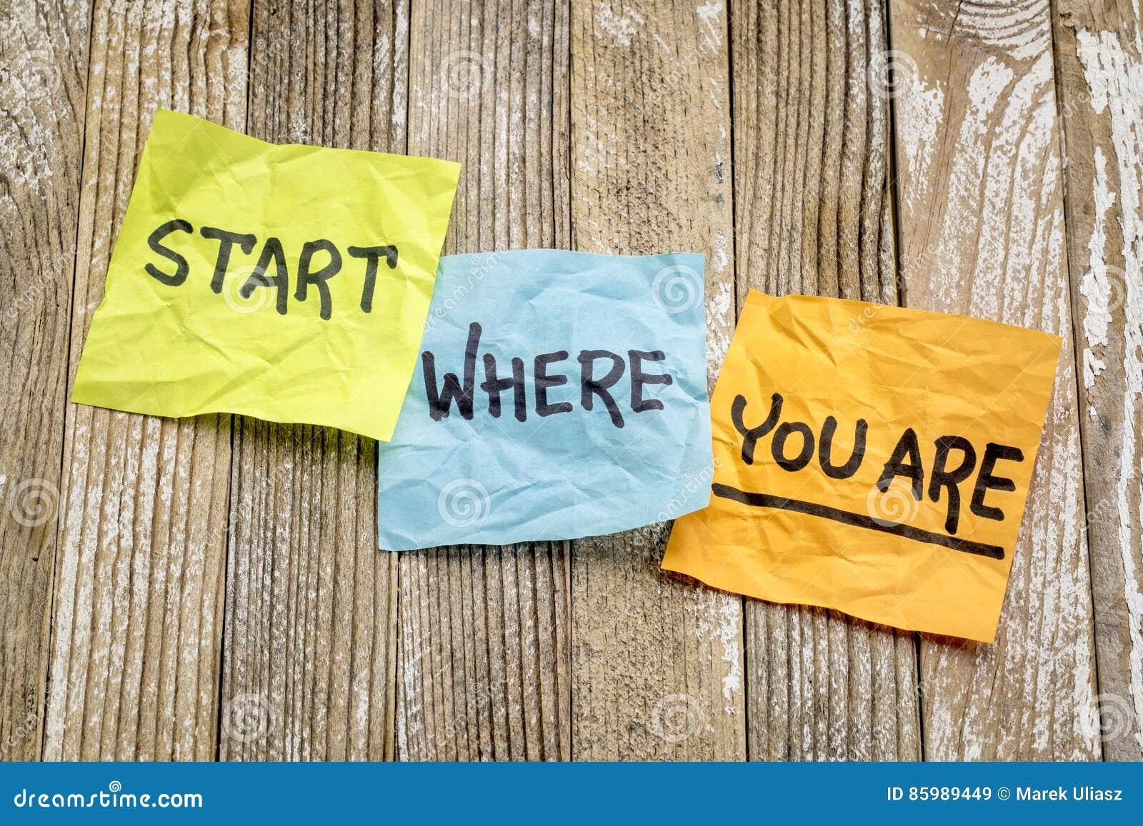 Comece onde você é conselho