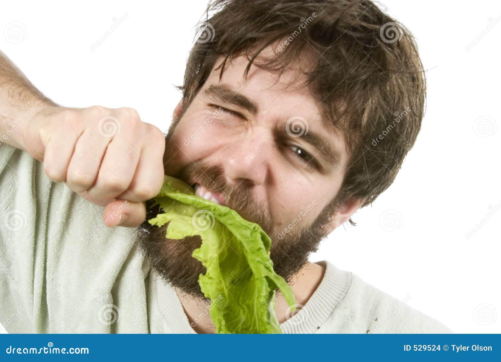 Comedor ansioso da salada