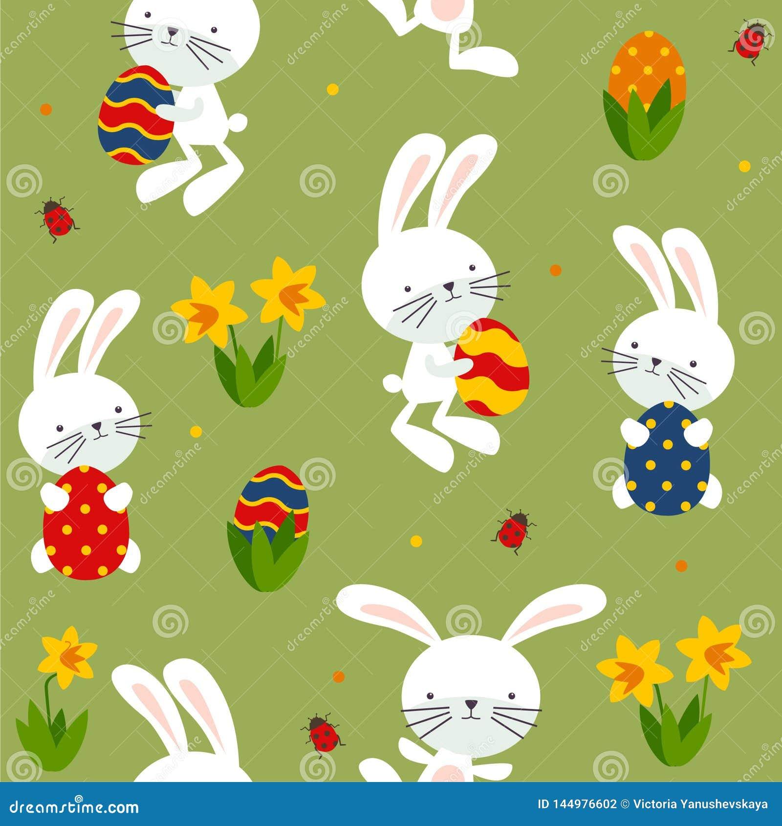 Comedor feliz con los conejos, narcisos, huevos
