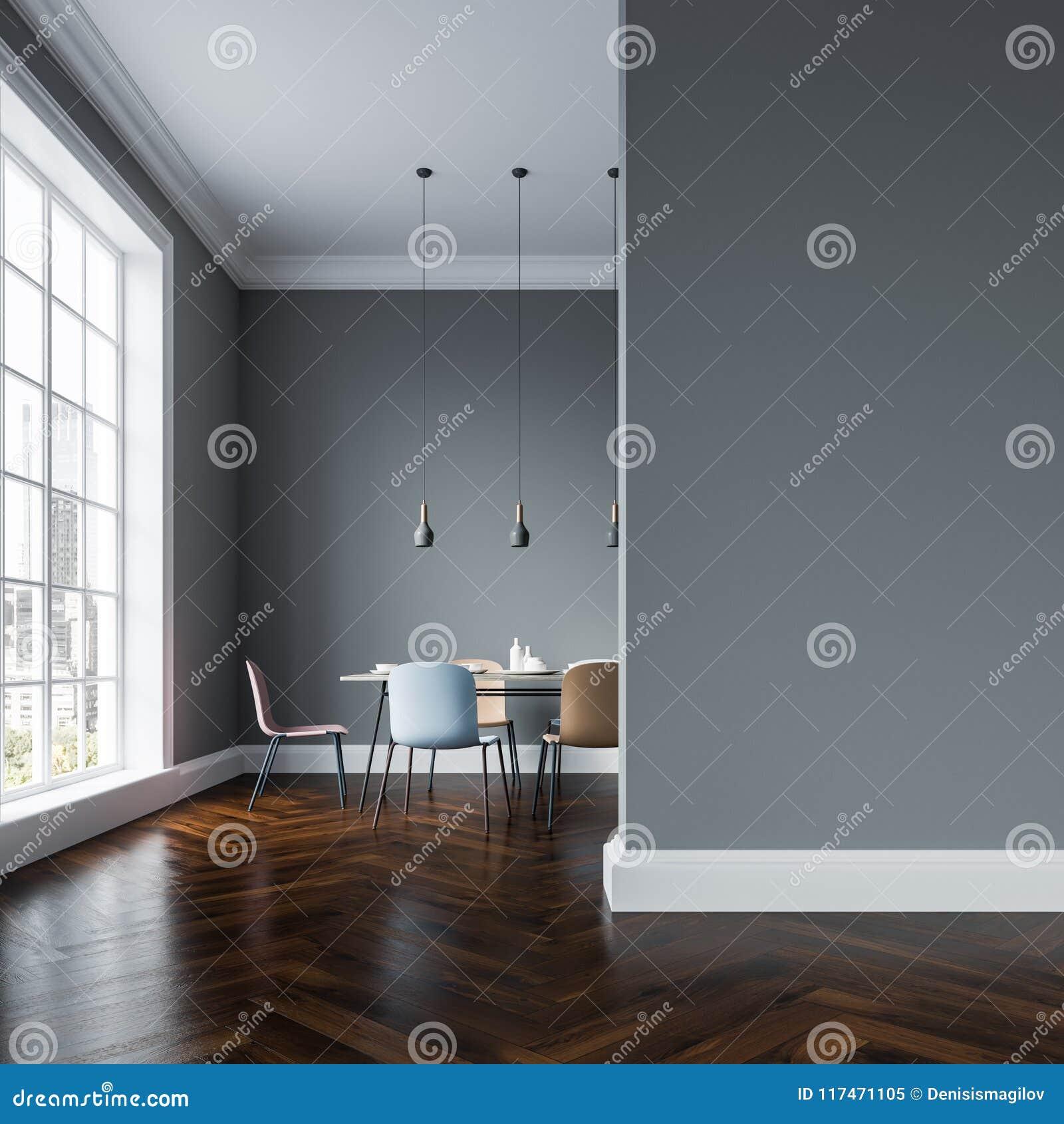 Comedor Gris Interior, Sillas En Colores Pastel, Pared Stock ...