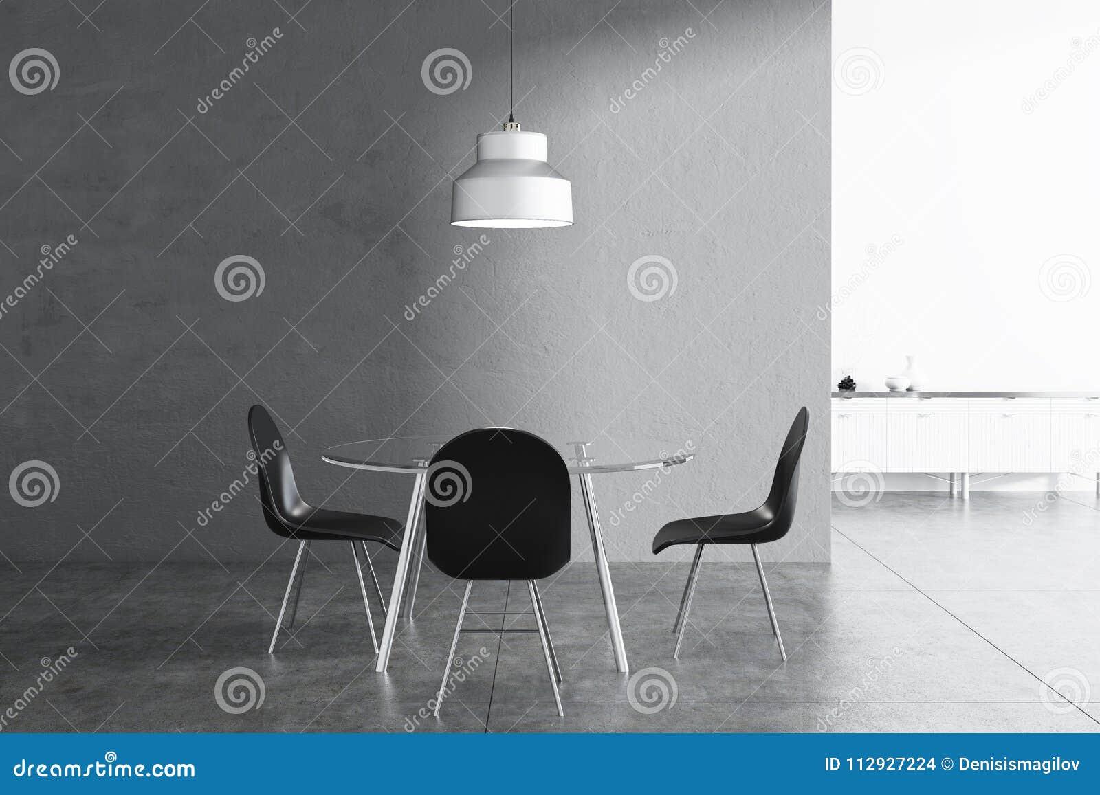 Comedor Gris Interior, Sillas Negras Stock de ilustración ...
