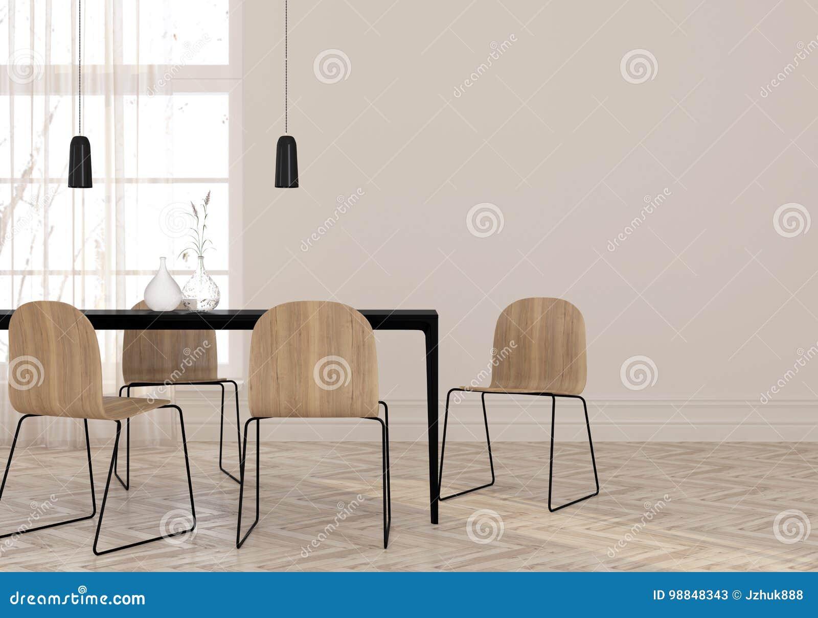 Comedor minimalista stock de ilustración. Ilustración de iluminación ...