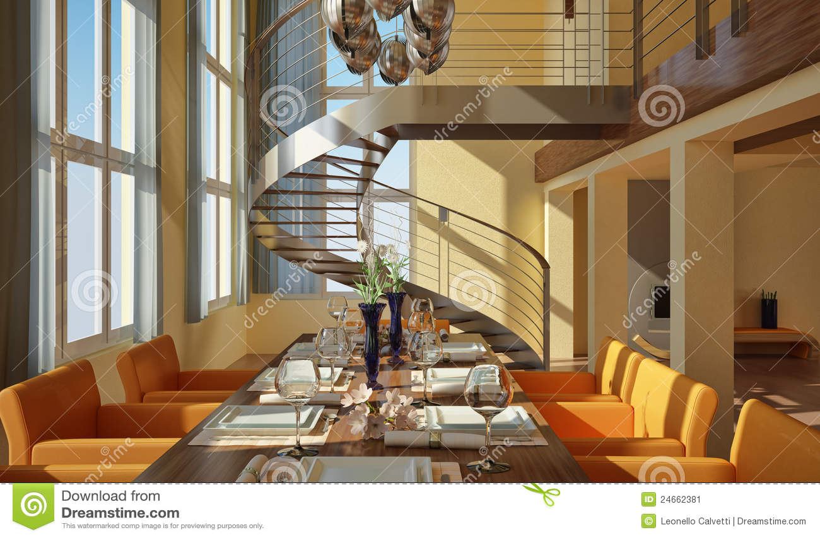 Comedor moderno con la escalera espiral imagen de archivo for Living comedor en l