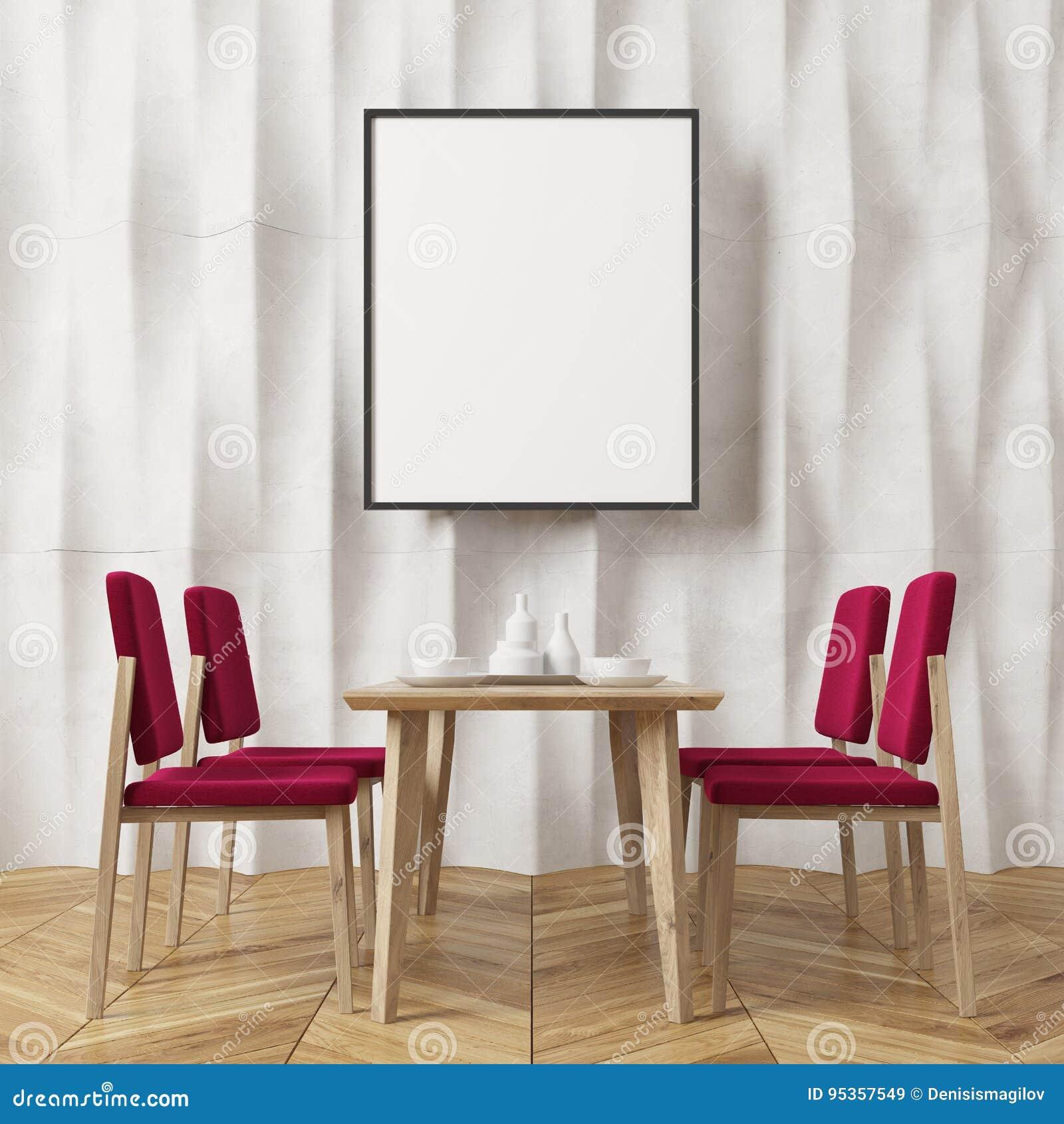 Comedor Texturizado Blanco De La Pared Sillas Rojas Stock De  # Muebles Texturizados