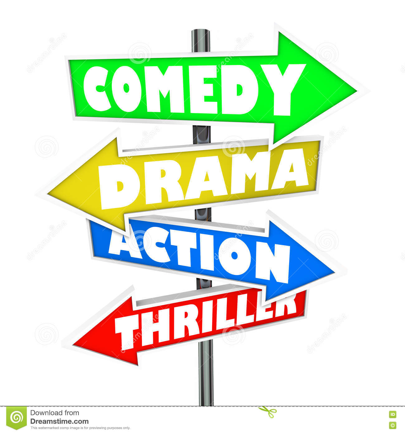 comedy drama action thriller movie genre signs stock