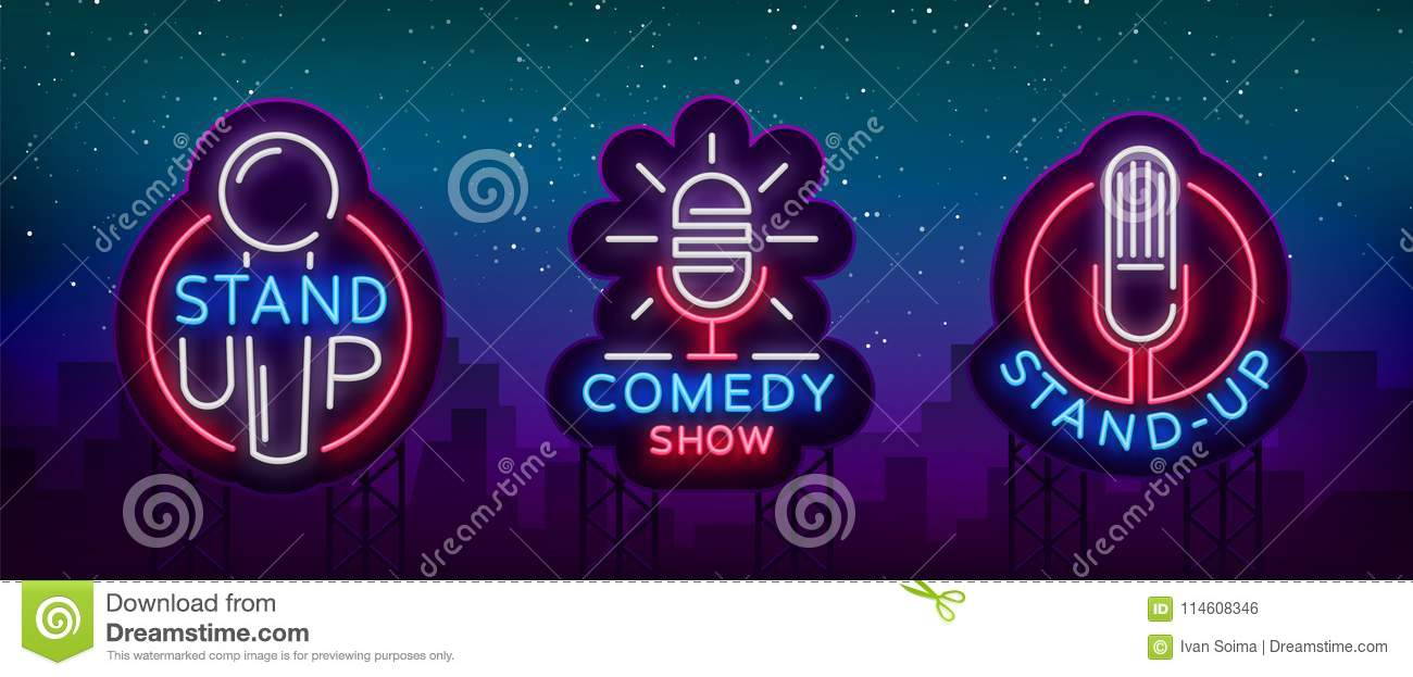 Comedy Show Stand Up An invitation collection of neon signs. Logotype set, Emblem Bright flyer, light poster, neon