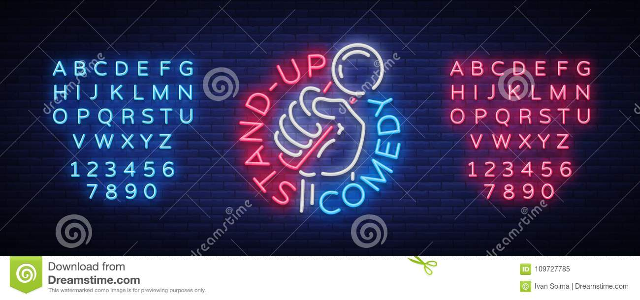 Comedy Show Stand Up invitation is a neon sign. Logo, Emblem Bright flyer, light poster, neon banner, night commercials