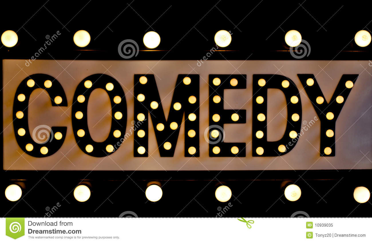 Black and white theater curtains - Comedy Sign In Lights Royalty Free Stock Photo Image