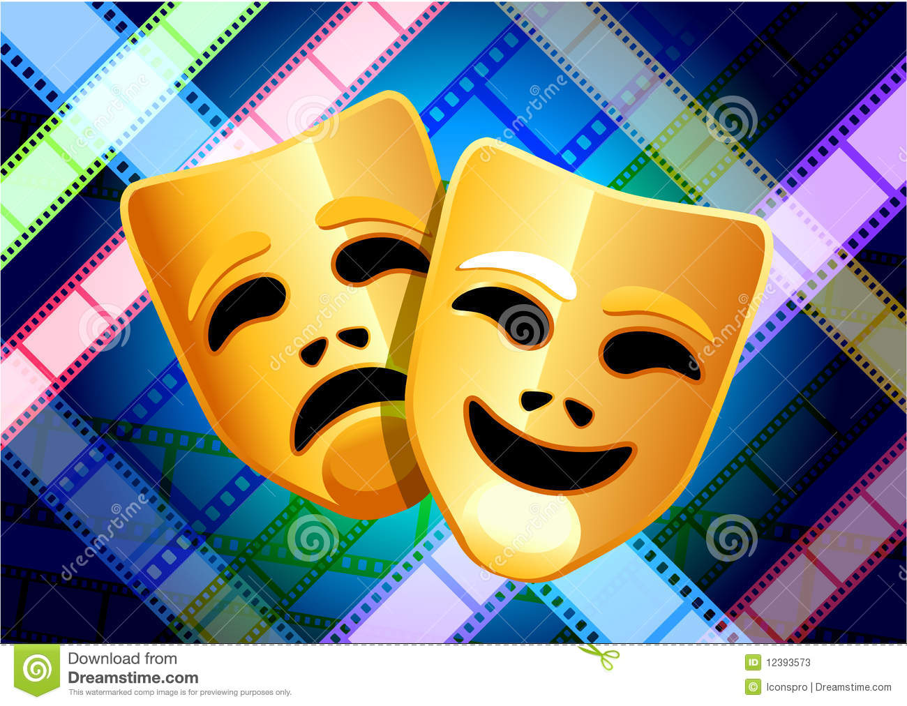 Comedy And Tragedy Masks On Film Reel Background Stock
