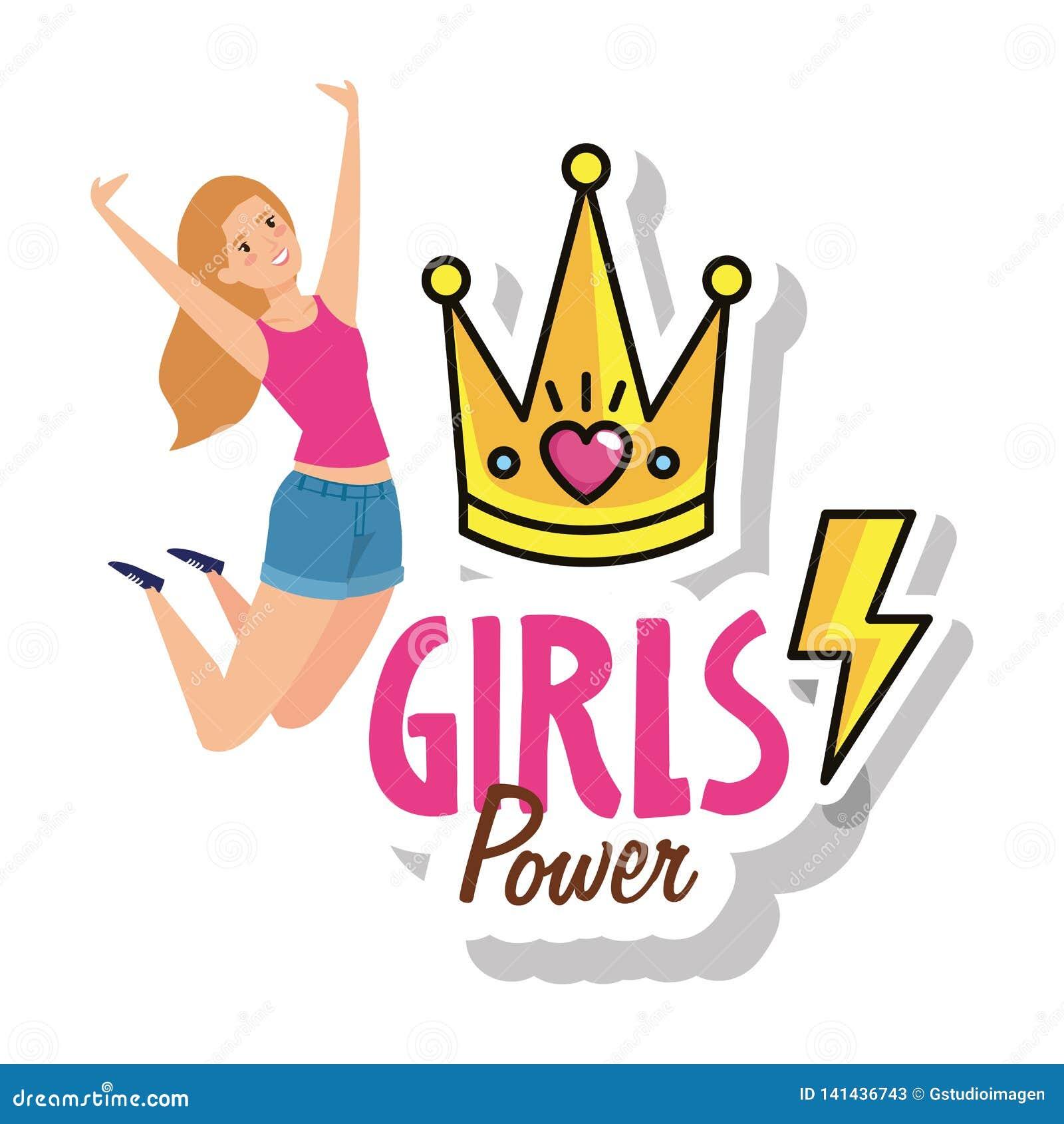 Comemoração de salto da menina do poder com coroa