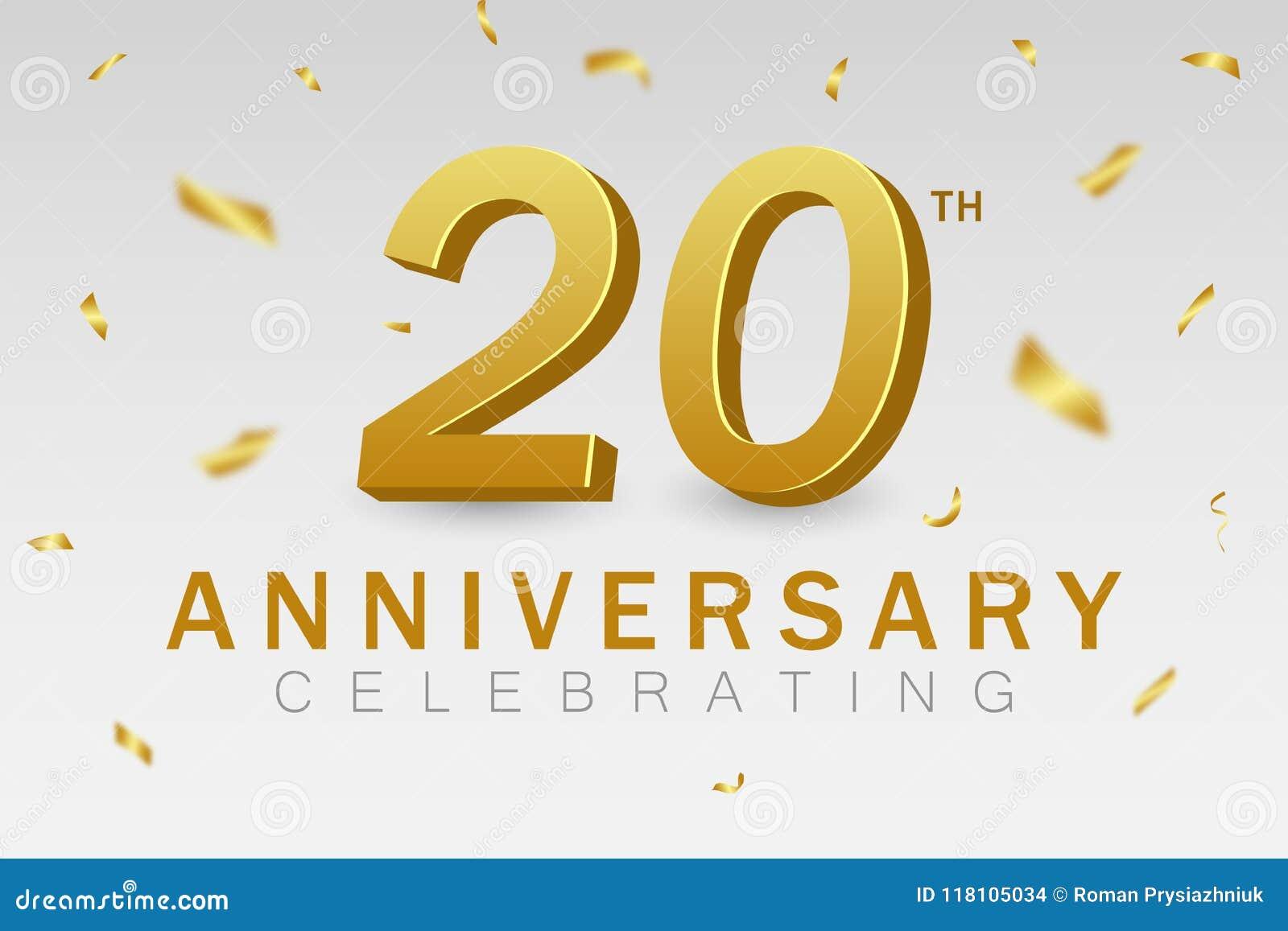 Comemoração do aniversário de 20 anos a 20a bandeira do aniversário com confetes e ouro dourados 3d numera