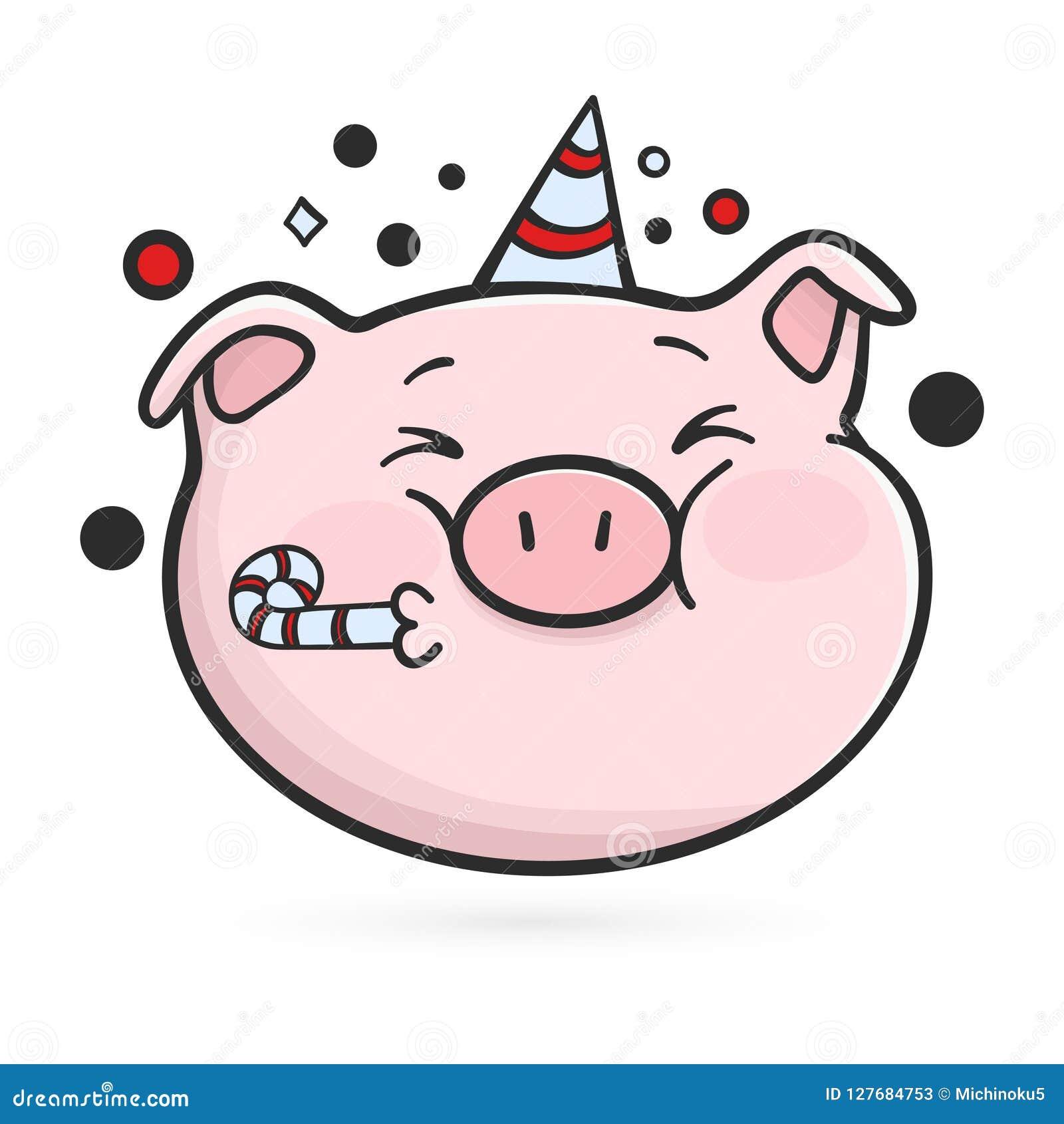 Comemorando o ícone do emoticon Porco de Emoji