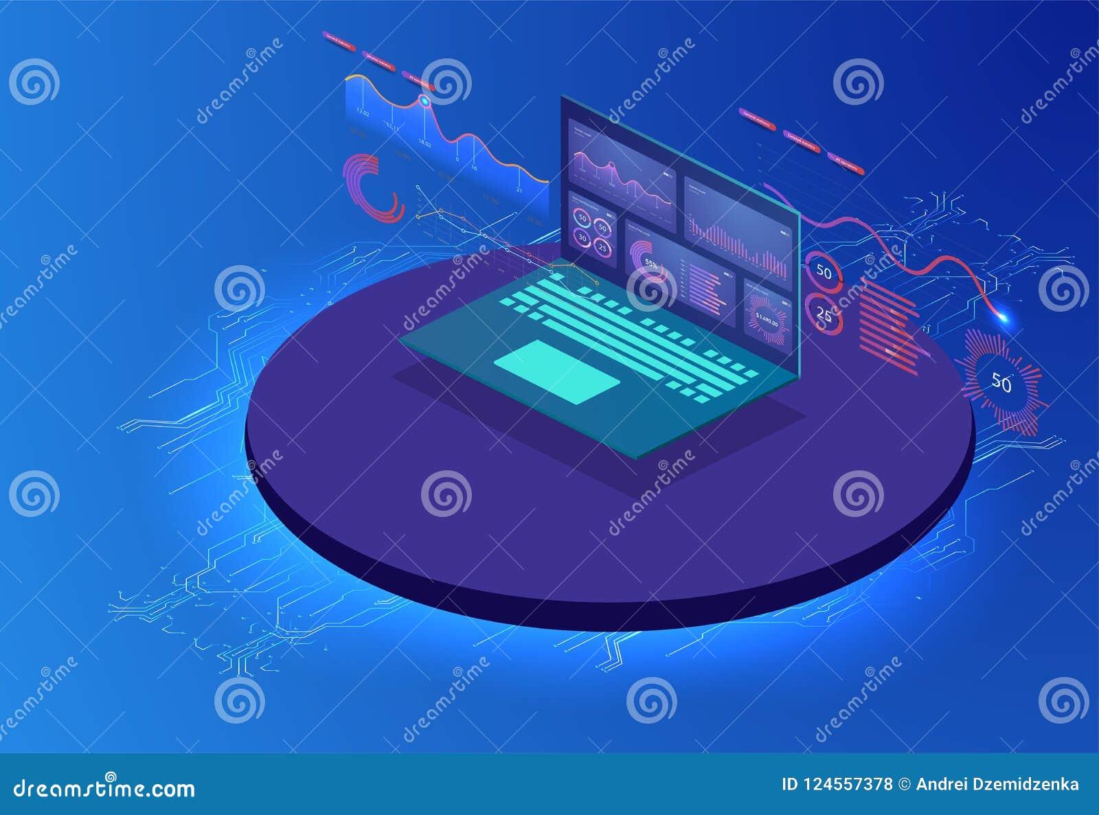 Comentario financiero con el ordenador portátil y los elementos infographic Sistema isométrico de infographics con los gráficos o