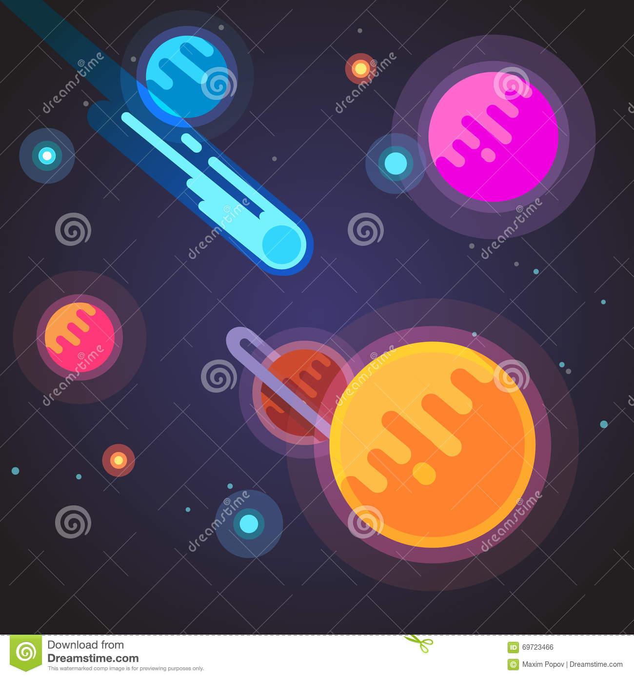 Comet flying through deep space galaxy stock vector for Material design space