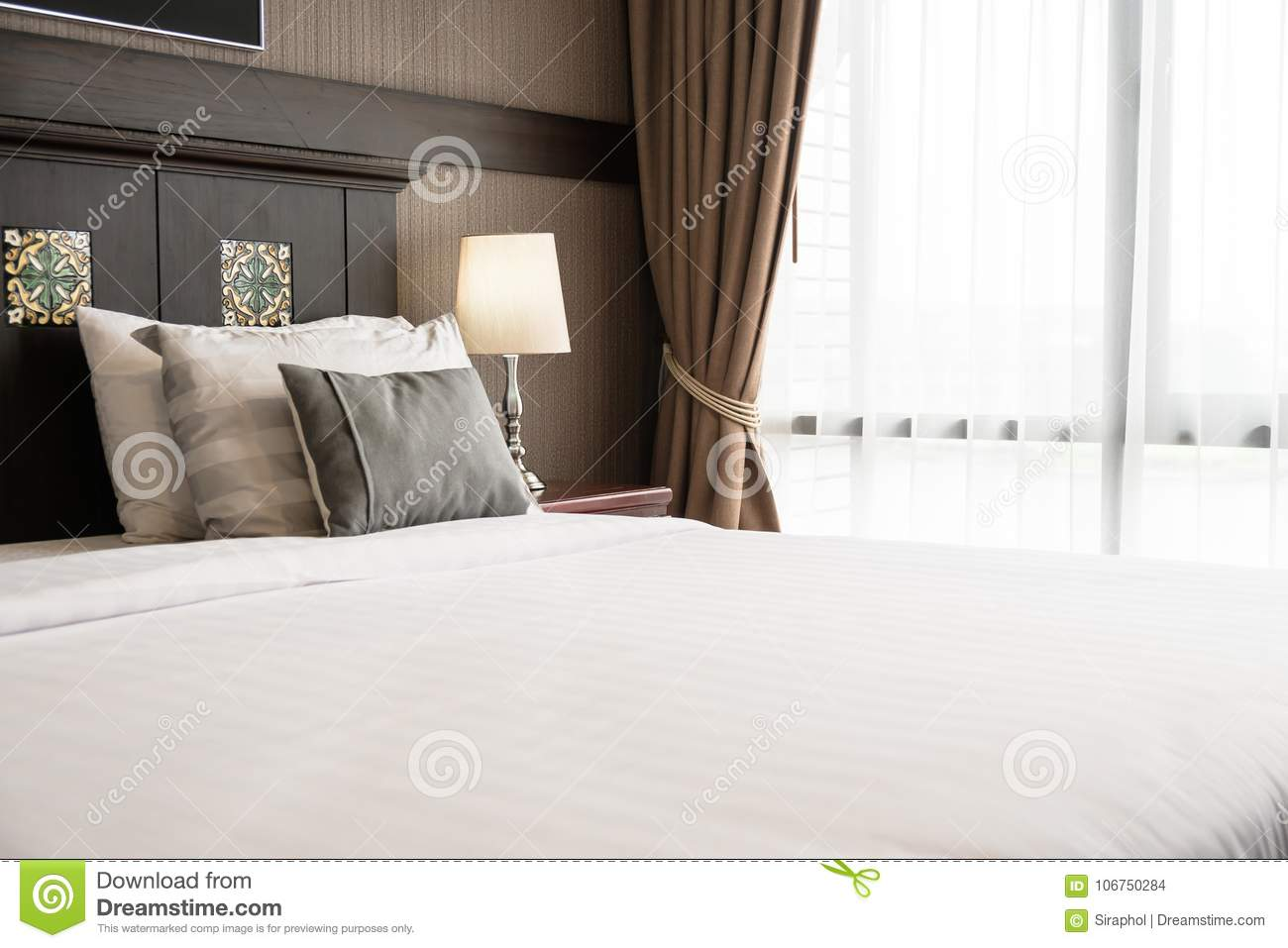 Comfort Pillow On Bed Stock Photo Image Of Pillows 106750284