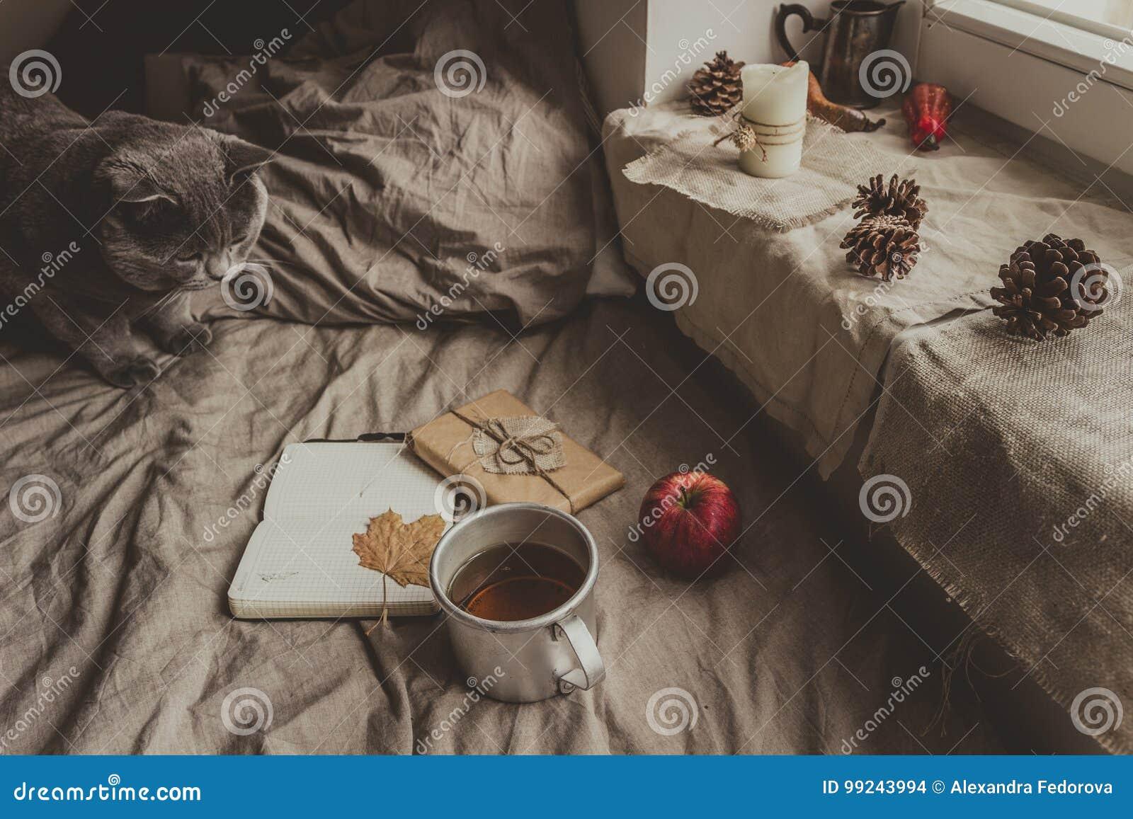 Comfortabel huis in de herfst blocnote met gift en kop van hete