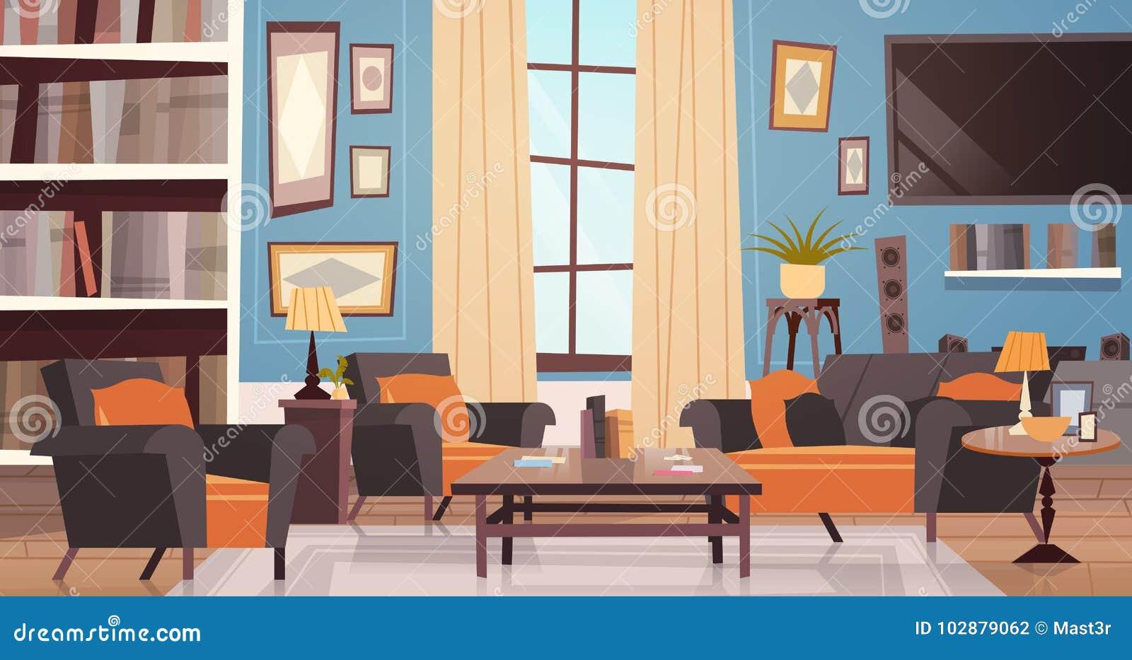 comfortabel woonkamer binnenlands ontwerp met moderne meubilair venster bank lijstleunstoelen boekenkast en