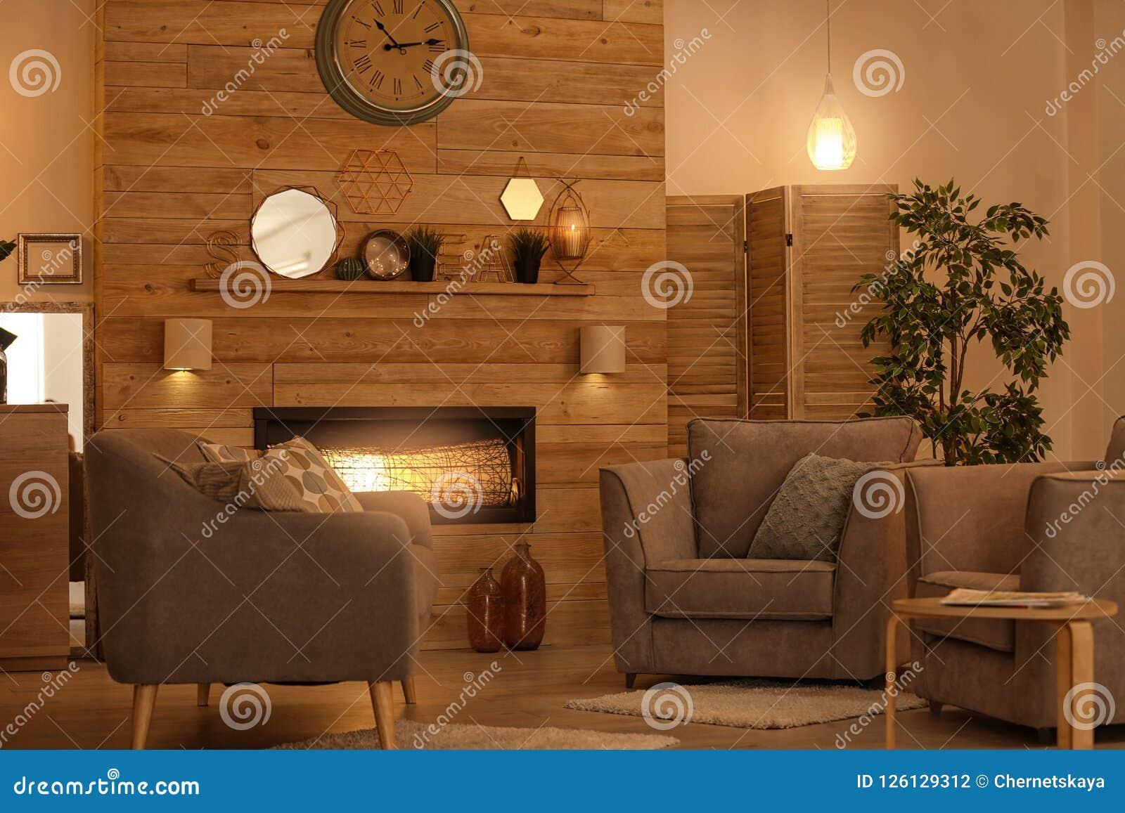 Comfortabel woonkamerbinnenland met comfortabel meubilair