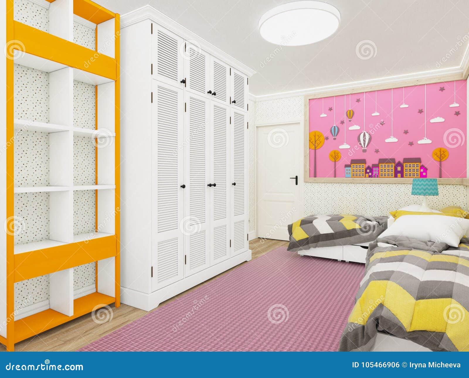 comfortabele meisjes s slaapkamer in roze met garderobe en leuke decoratie op de muur het