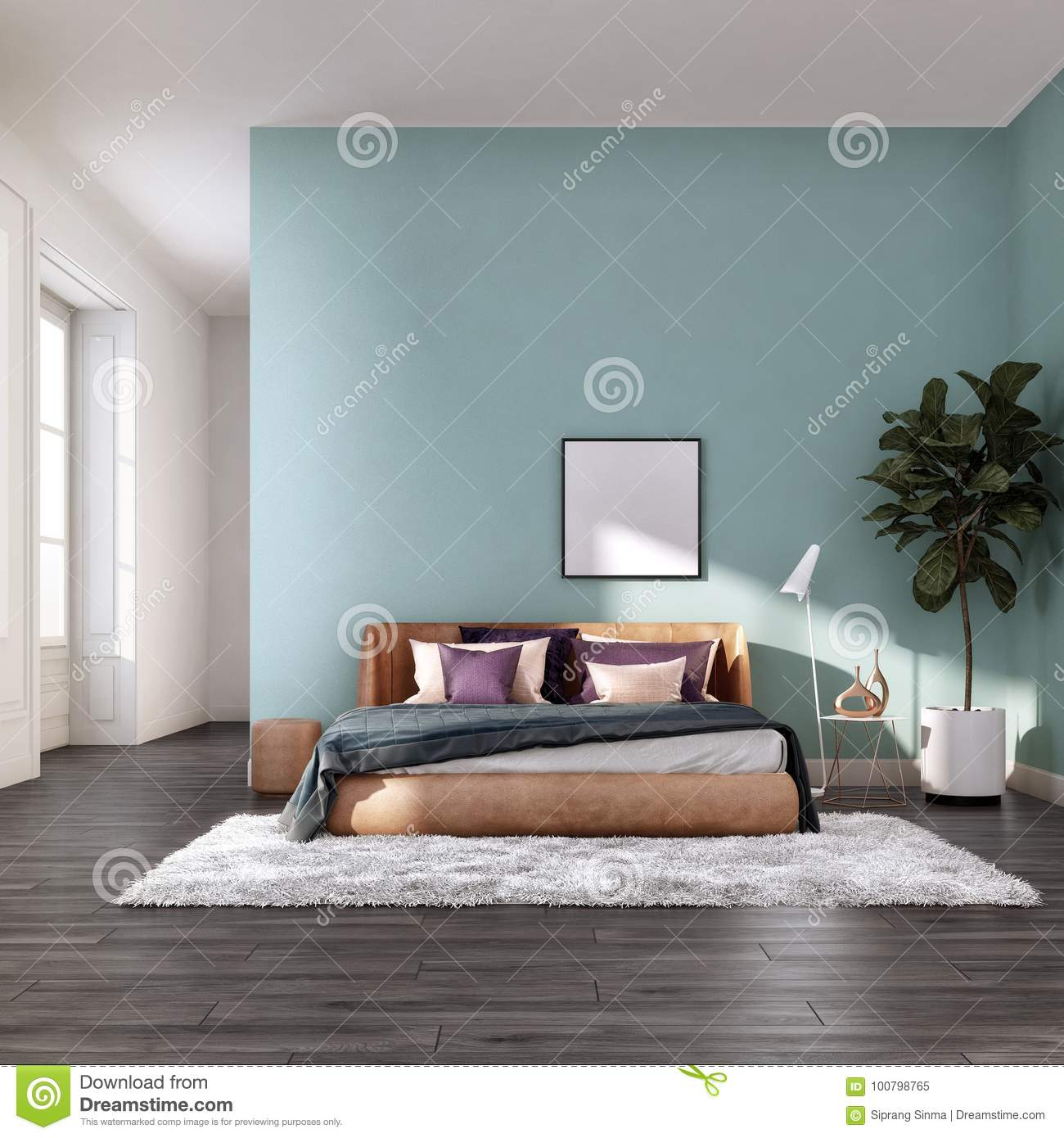 Comfortable Bed Room With Green Pastel Wall Colord Rendering