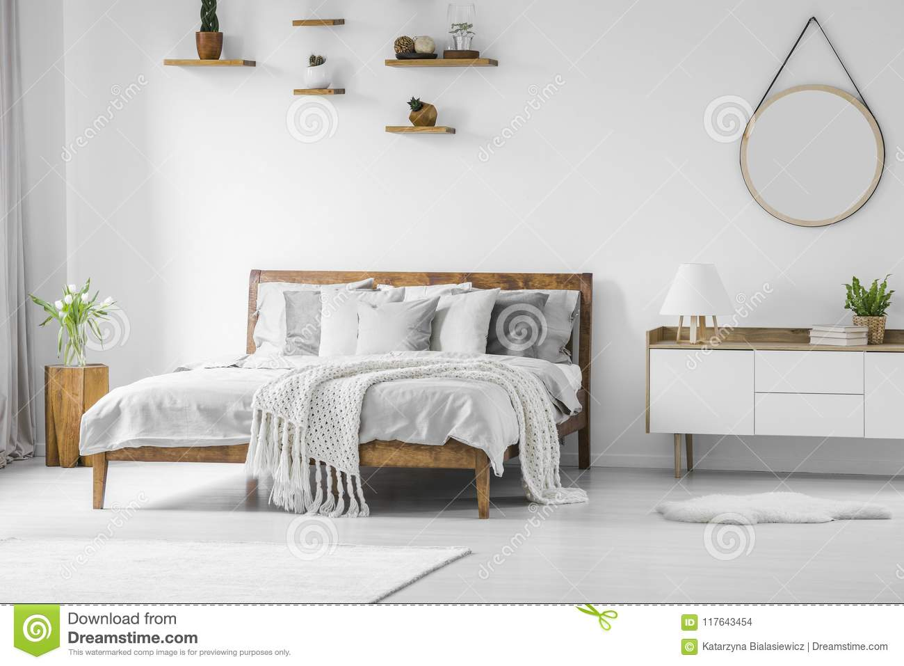 Comfortable Big Wooden Framed Bed With Linen, Pillows And Blanke ...