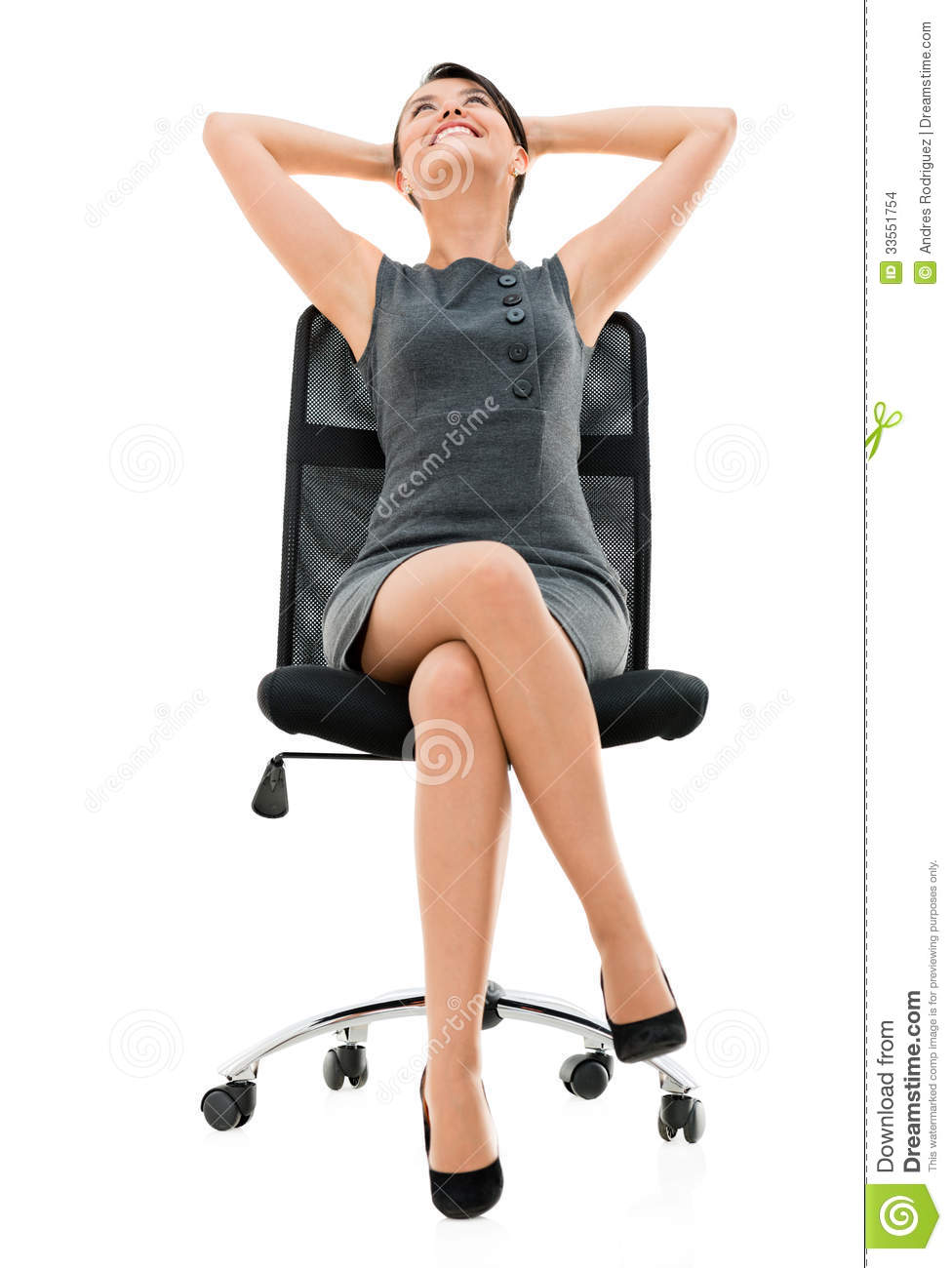 Comfortable business woman on a chair stock photo image for Sitting easy chairs