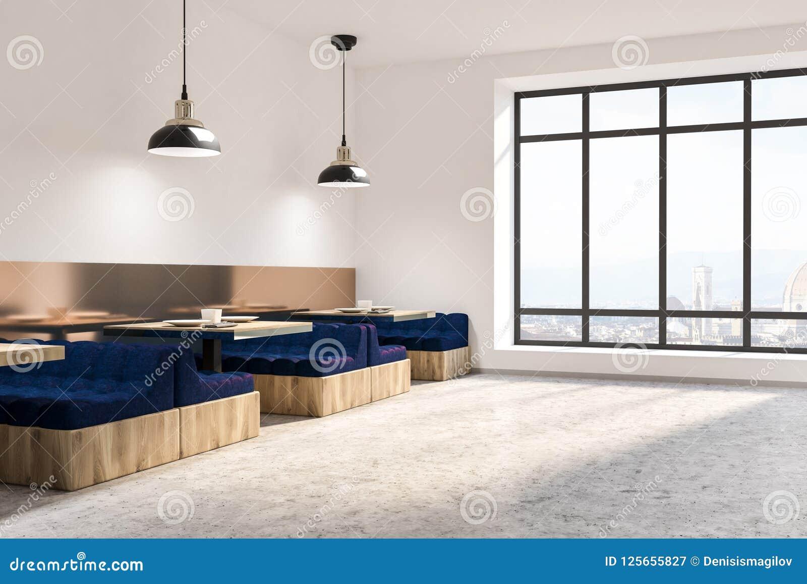 Blue Sofa Loft Cafe Corner Marble Floor Stock Illustration