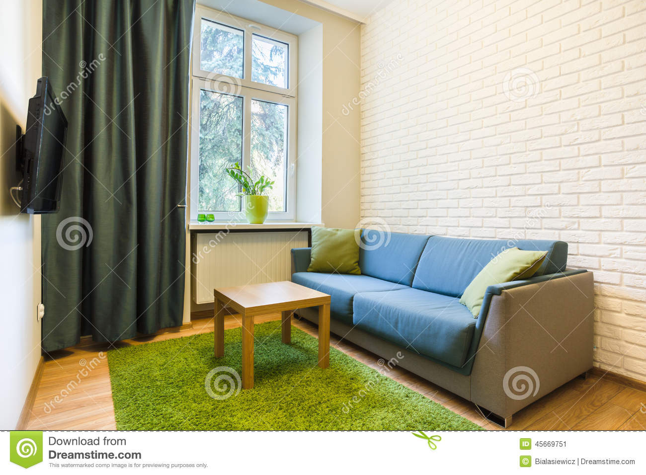 Comfortable Couch In Small Flat Stock Photo Image 45669751