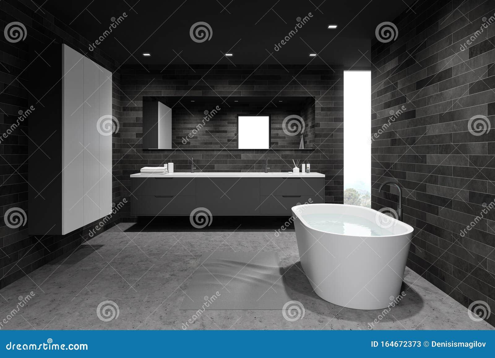 https www dreamstime com comfortable dark tile bathroom wardrobe interior spacious walls concrete floor bathtub water double sink gray image164672373