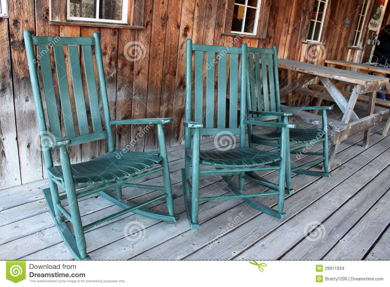 Green Rocking Chairs On Porch Stock Photo Image Of Handcrafted