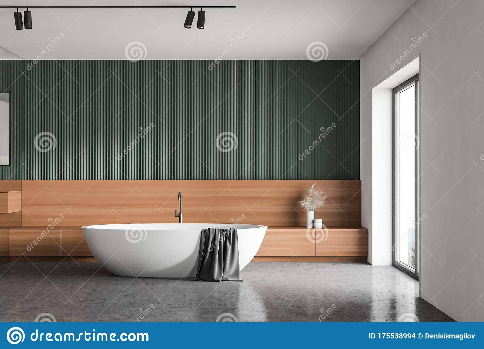 Comfortable Green And White Bathroom With Tub Stock Illustration Illustration Of Elegant Contemporary 175538994