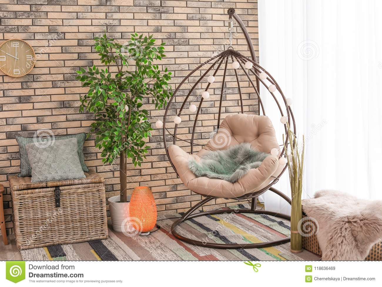 Comfortable Hanging Chair In Modern Living Interior Stock Image