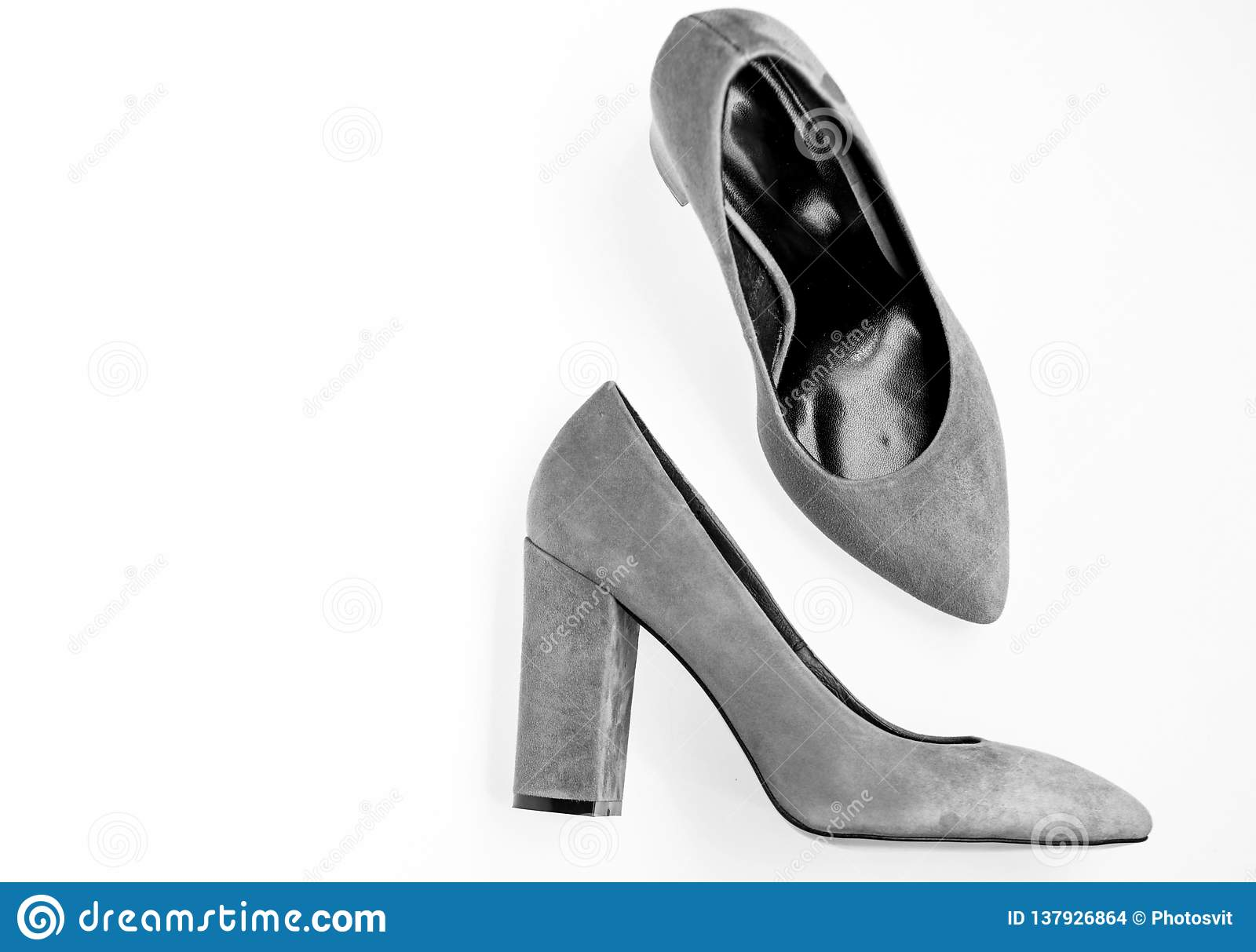 Comfortable High Heels Concept. Pair Of Fashionable High