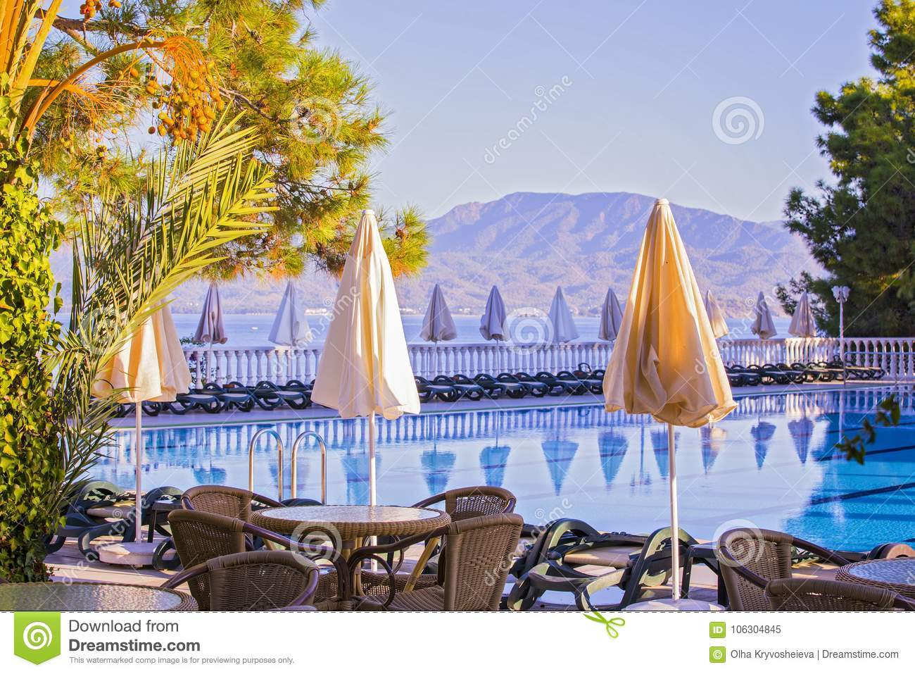 Download Comfortable High Rise Hotel. Empty Hotel, Swimming Pool, Sea, Palm