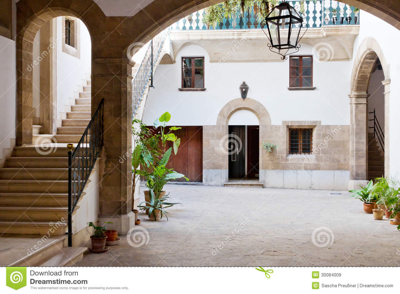 Spanish interior courtyard royalty free stock images for Spanish style house plans with interior courtyard