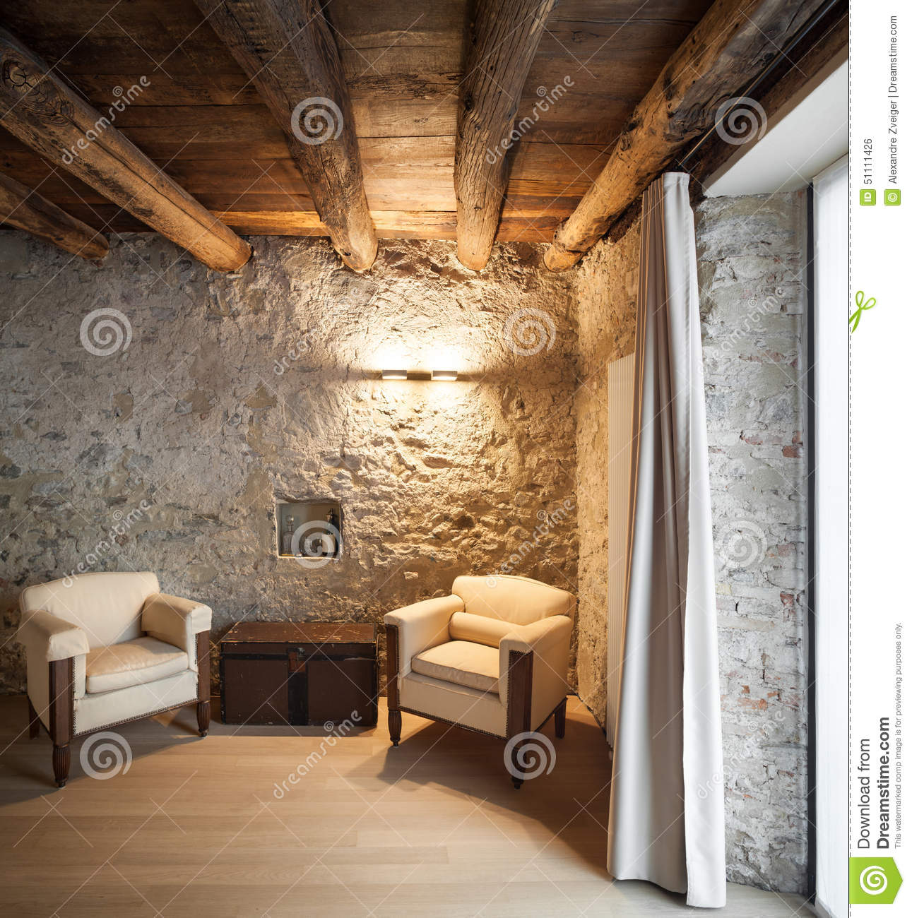 Comfortable Loft Furnished Stock Photo. Image Of Indoor