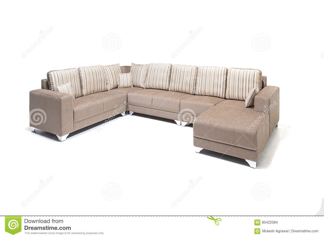 Beautiful Leather Sofa Beige Color On A White Royalty Free