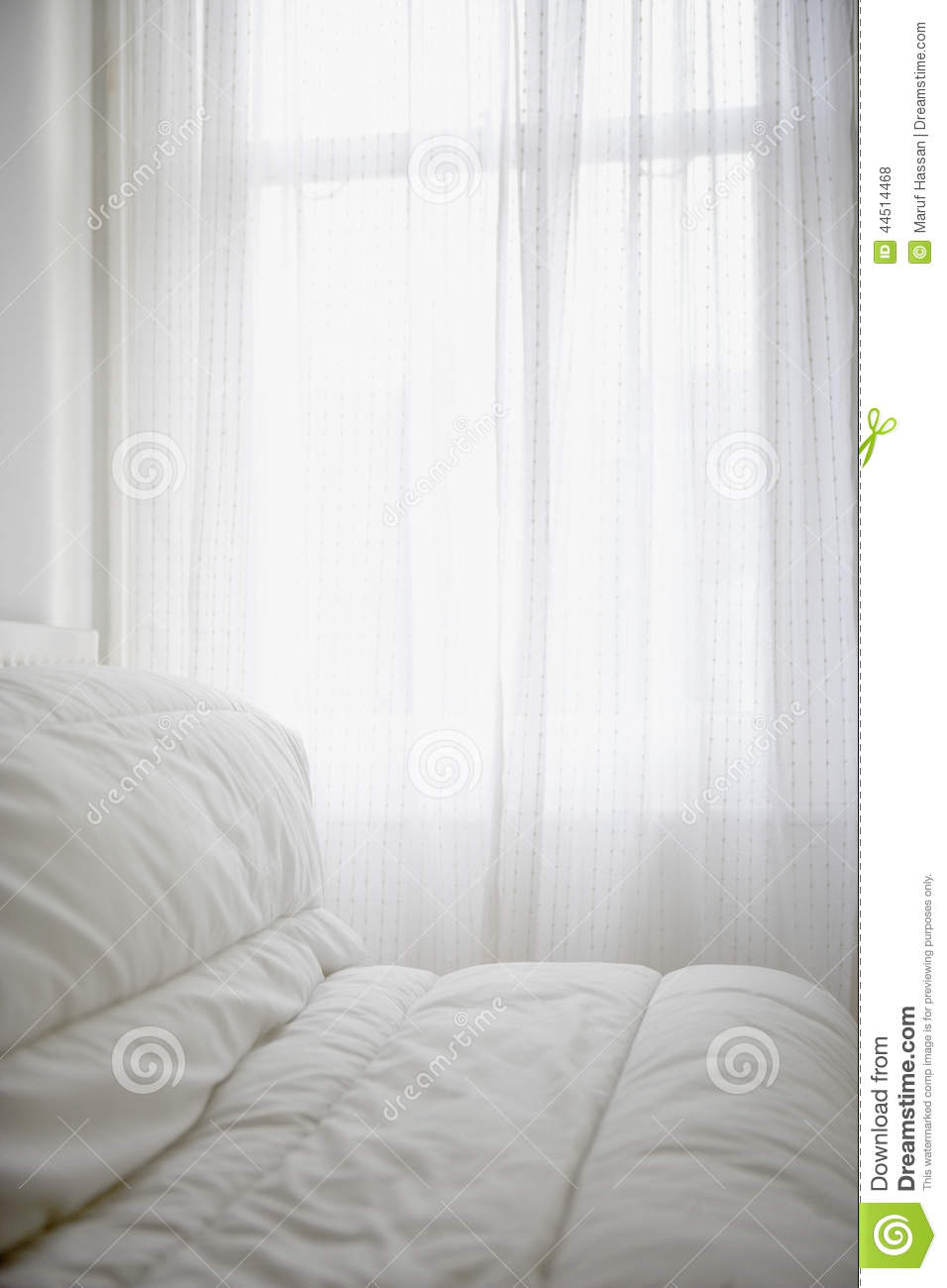 Comfortable Mattress Cover On A Bed Room Stock Photo