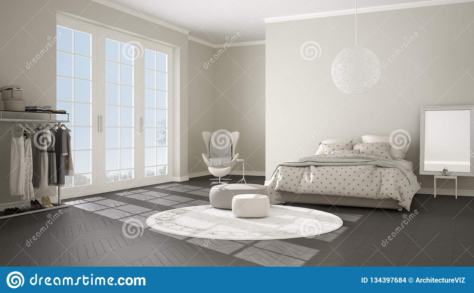 Comfortable modern gray and beige bedroom with wooden parquet floor, panoramic window on winter landscape, carpet, armchair and