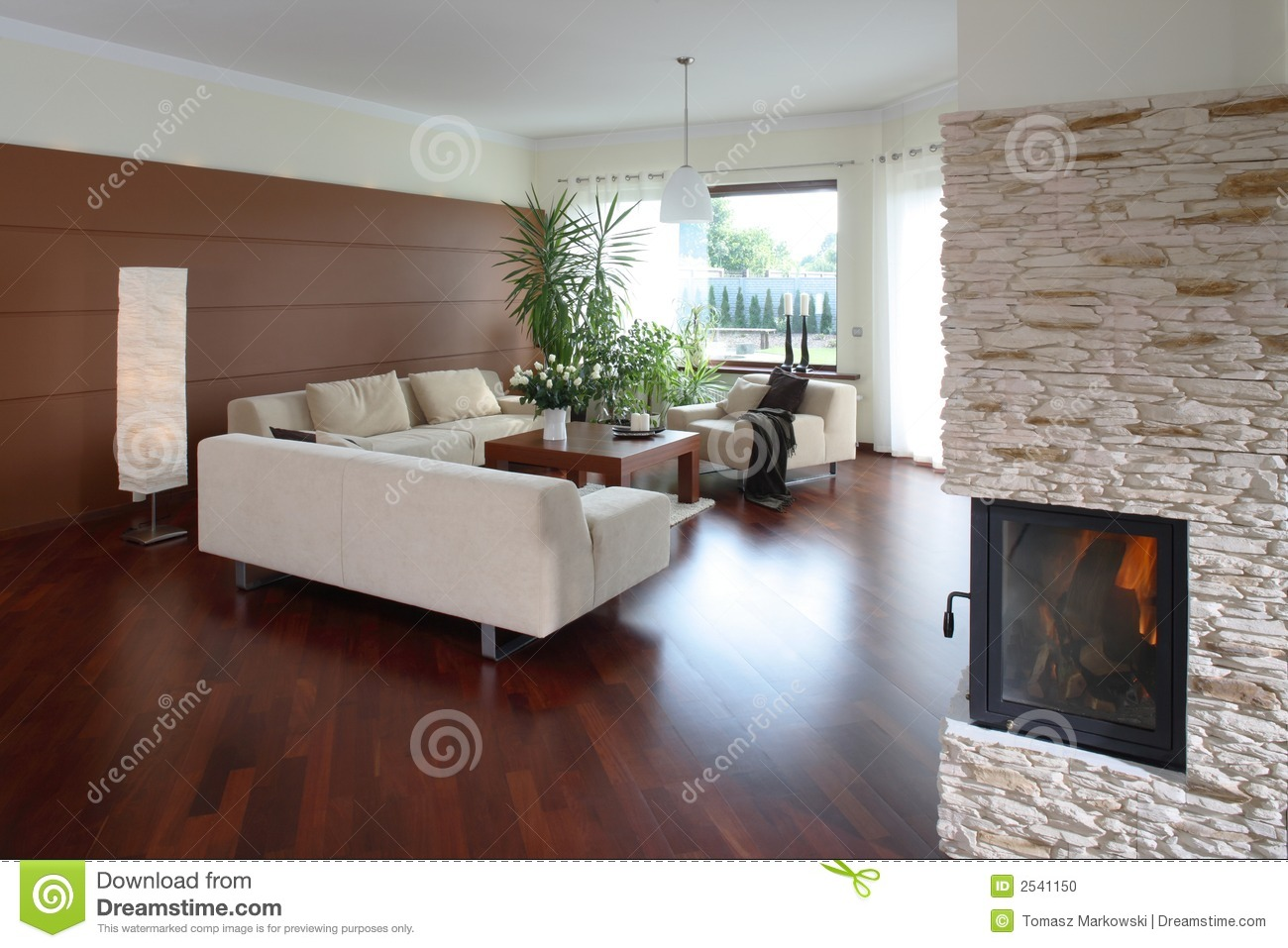 View Of A Comfortable Modern Living Room With A Fireplace In One