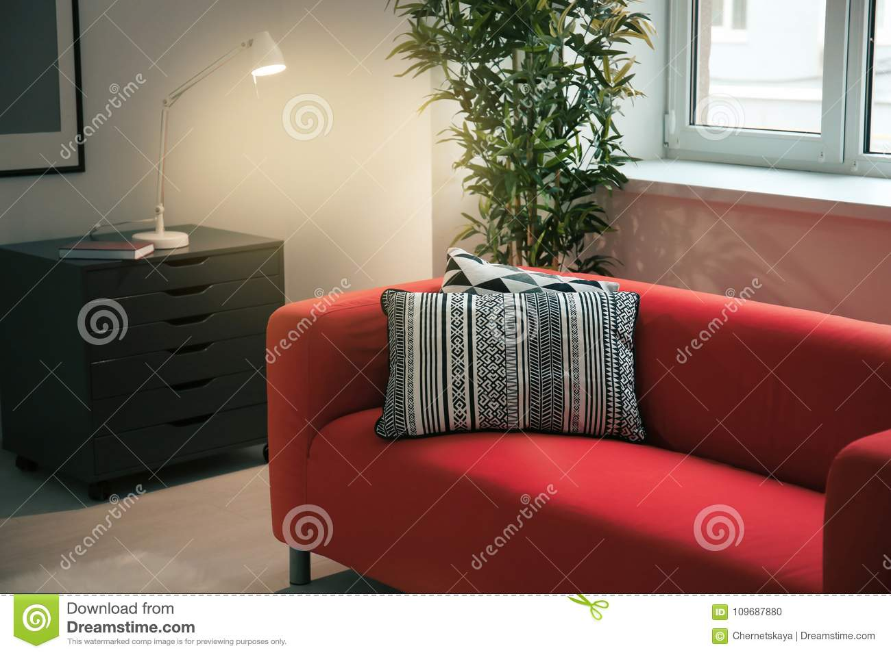 Amazing Comfortable Red Sofa With Pillows Stock Photo Image Of Evergreenethics Interior Chair Design Evergreenethicsorg