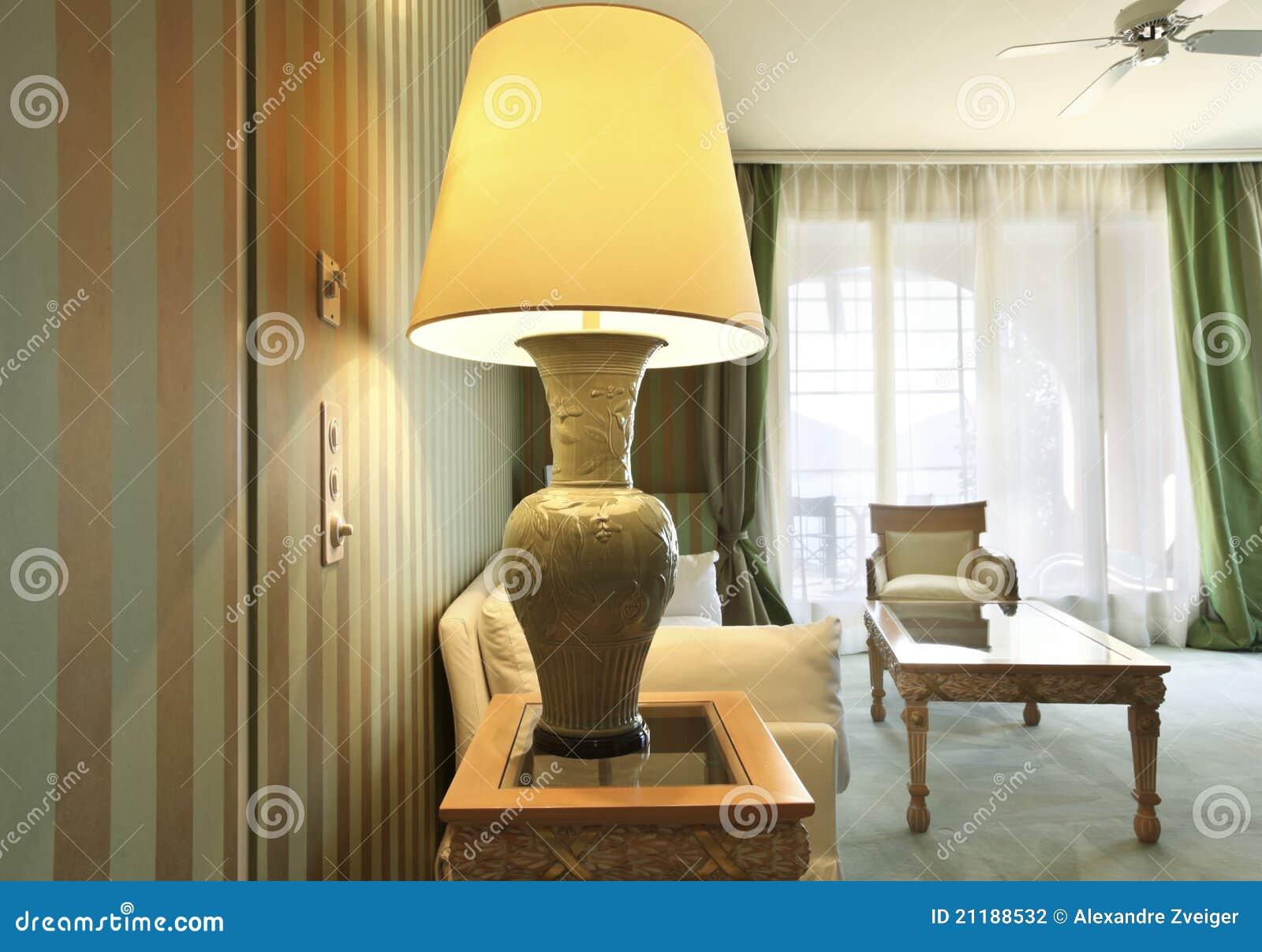 Comfortable suit, closeup table lamp
