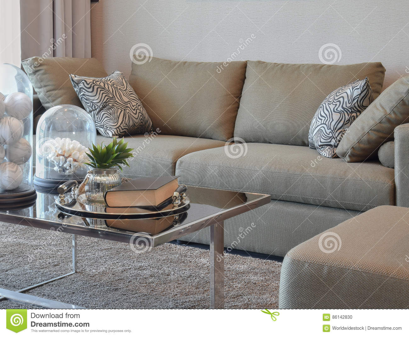 Comfortable Velvet Sofa With Grey Striped Pillows In Modern Living Room Stock Photo Image Of
