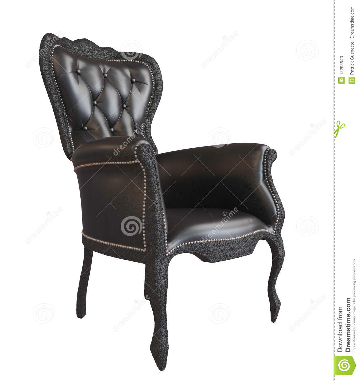 Comfy Black Leather Office Or Royal Armchair Stock ...