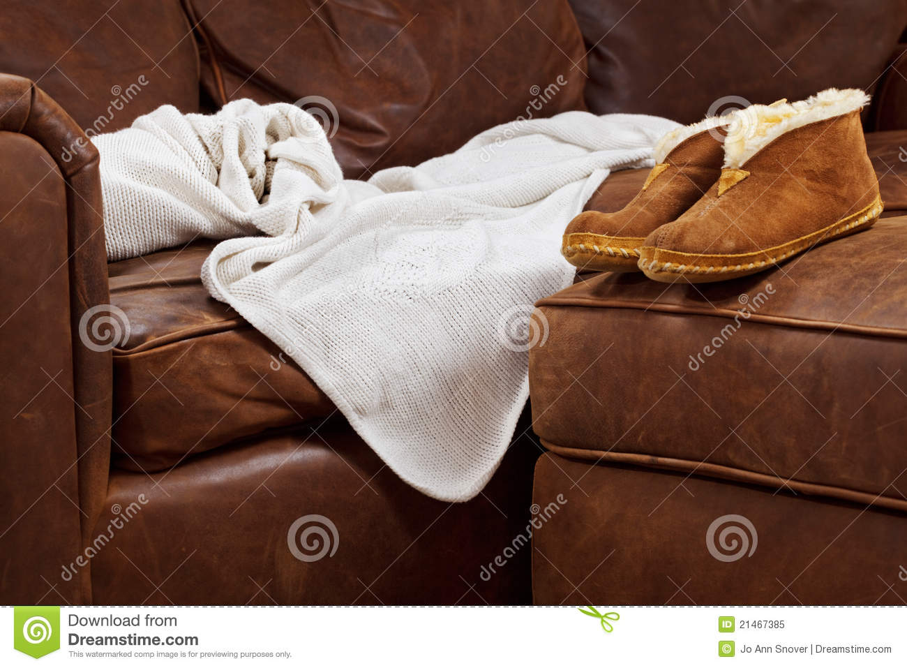 fy Sofa Blanket Slippers Royalty Free Stock Image