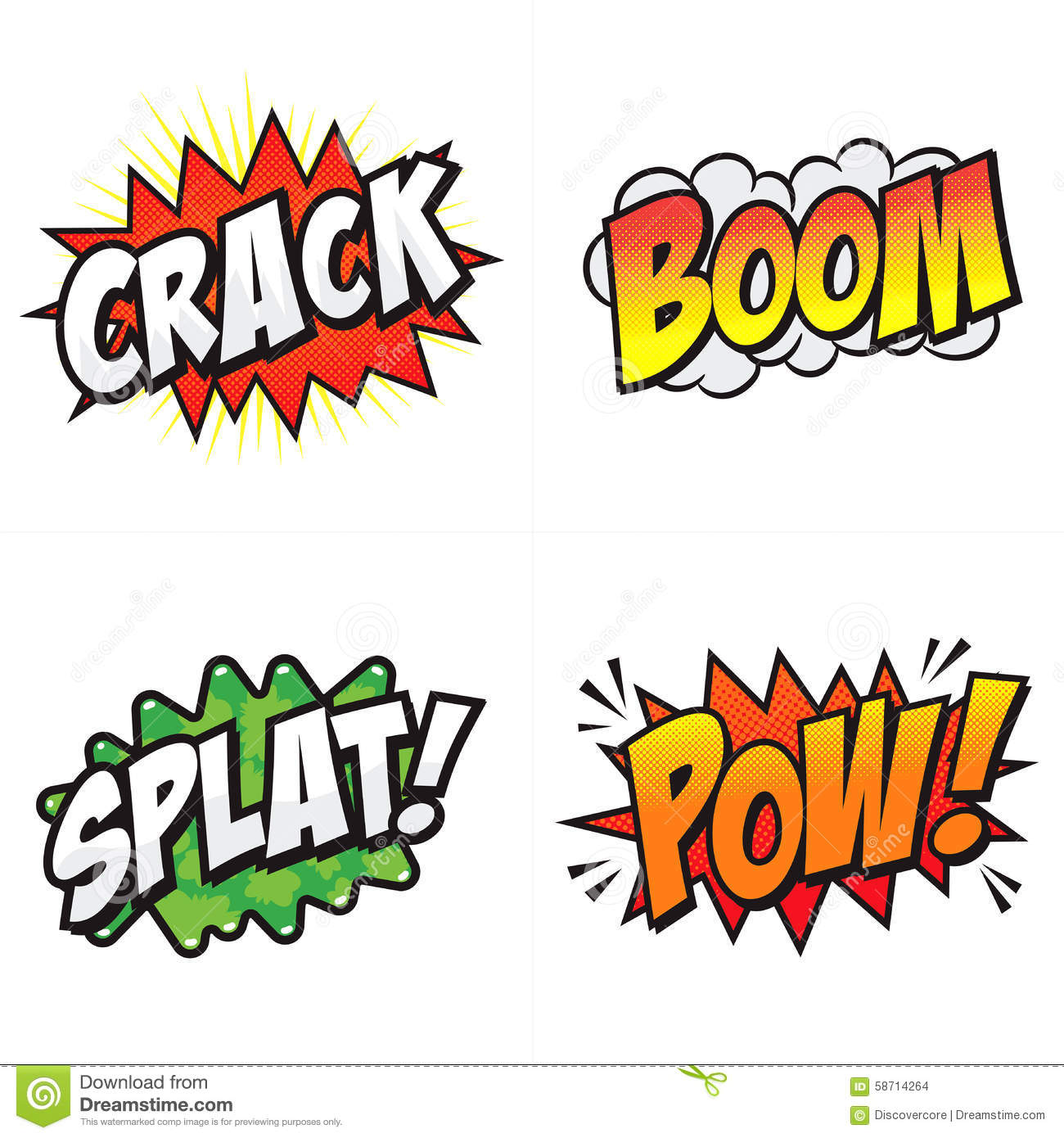 Comic Action Words Stock Vector Illustration Of Exclamation