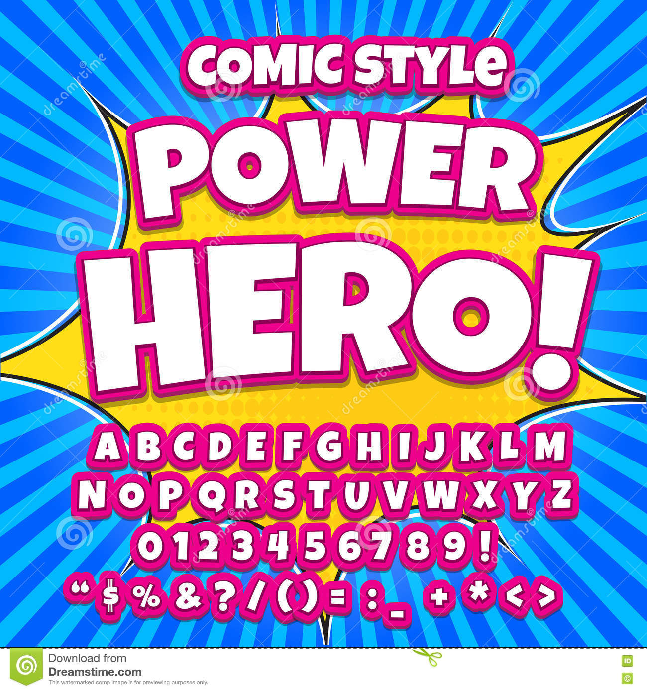 Comic Alphabet Set. Pink Color Version. Letters, Numbers And Figures ...