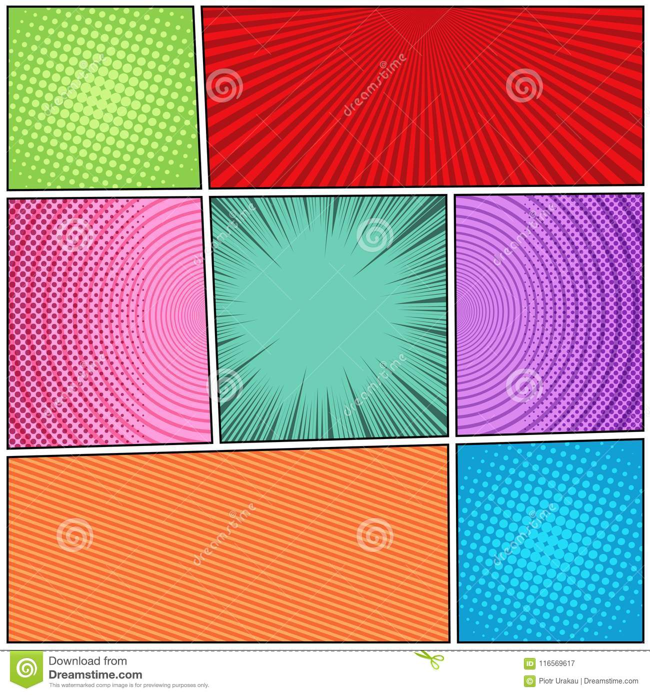 Comic Book Backgrounds Composition Stock Vector