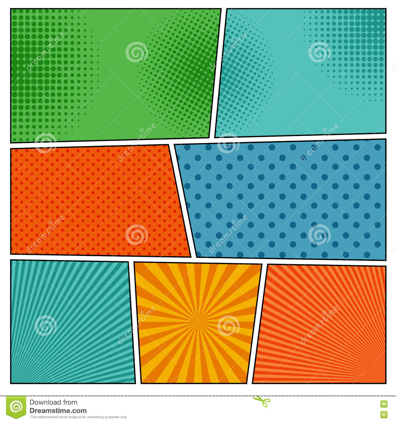 Old Comic Book Cover Texture : Set of different halftone backgrounds vector illustration