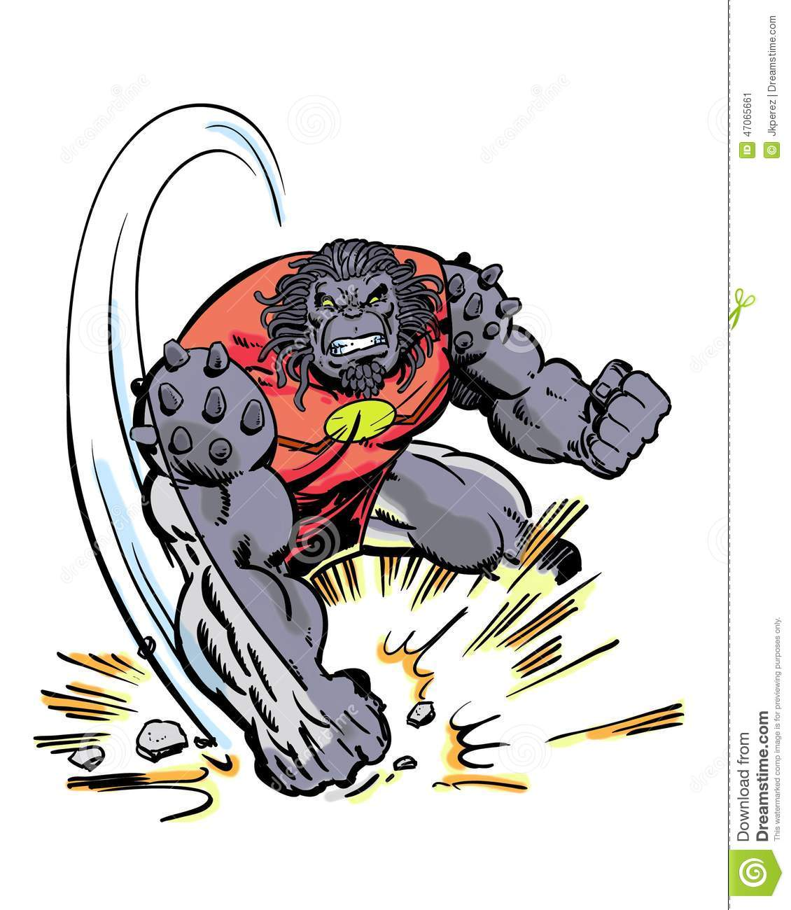 Comic Book Character Grock The Alien Brute Pounding The